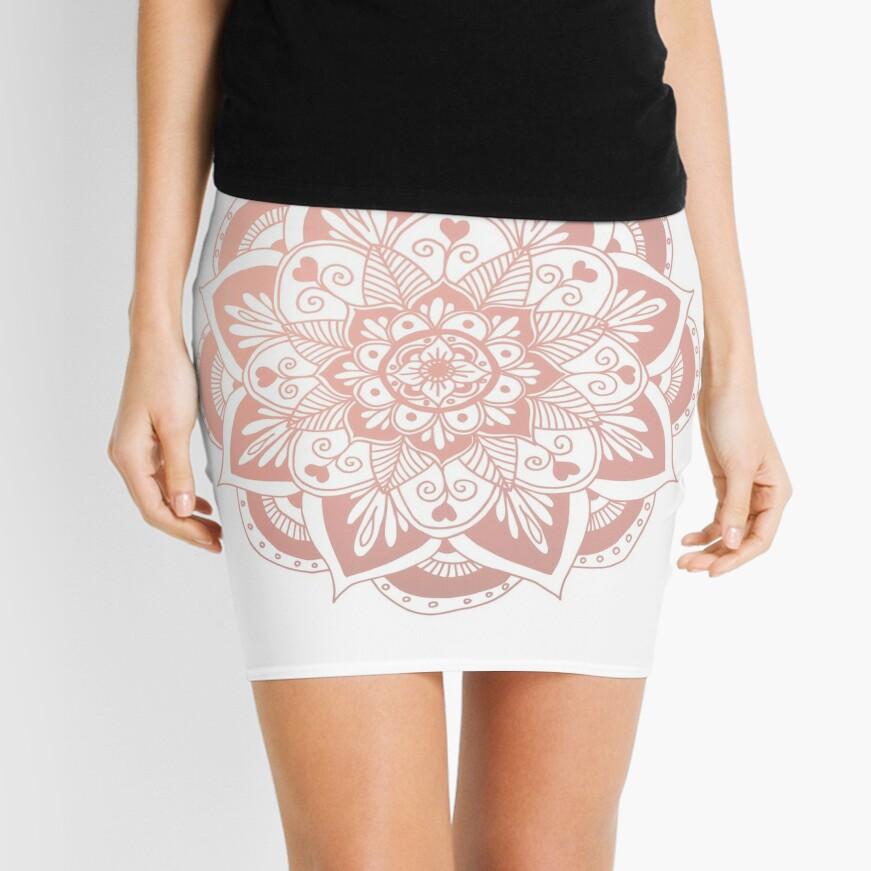 Flower Rose Gold Mandala Mini Skirt