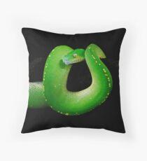 Green Tree Python [Morelia viridis] Throw Pillow