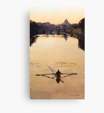 """The Oarsman"" Tiber River Watercolor Canvas Print"