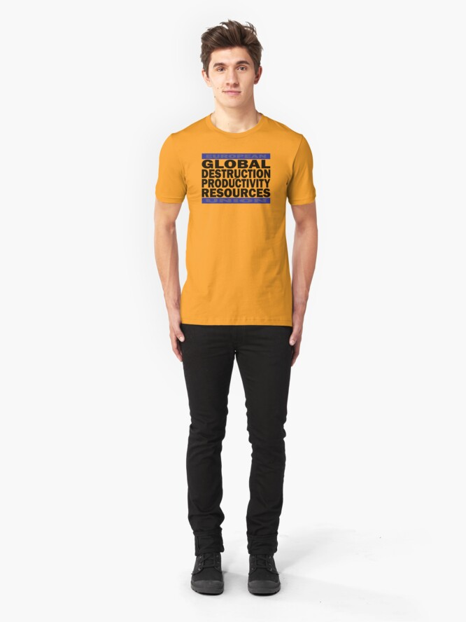 Alternate view of Global Destruction of Productivity Resources Slim Fit T-Shirt