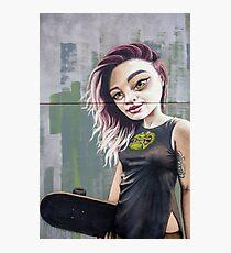 Skateboarding girl graffiti mural Photographic Print