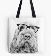 Brown Roan Italian Spinone Dog Head Shot with Glasses Tote Bag