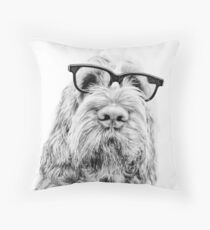 Brown Roan Italian Spinone Dog Wearing Glasses Throw Pillow