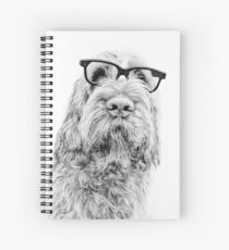 Brown Roan Italian Spinone Dog Head Shot with Glasses Spiral Notebook