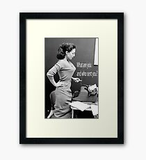 Retro Humor Woman Versus Typewriter  Framed Print