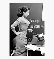 Retro Humor Woman Versus Typewriter  Photographic Print