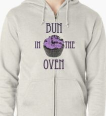 Bun In The Oven - Lilac - Pregnancy Tee Zipped Hoodie