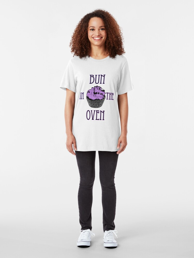Alternate view of Bun In The Oven - Lilac - Pregnancy Tee Slim Fit T-Shirt