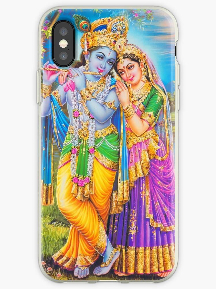 'Lord Radsha Krishna Hindu Gods Hinduism Religion' iPhone Case by tanabe