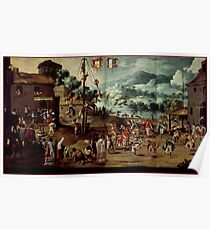 Unknown - Folding Screen with Indian Wedding and Flying Pole (Biombo con desposorio indigena y palo volador) Poster