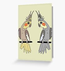 Dialogue of Two Cockatiels Greeting Card