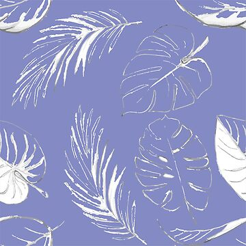 blue pattern with white leaves  by AlinNova