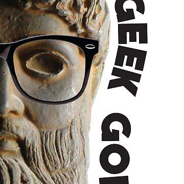 Geek God funny computer nerd illustration by HoneymoonHotel