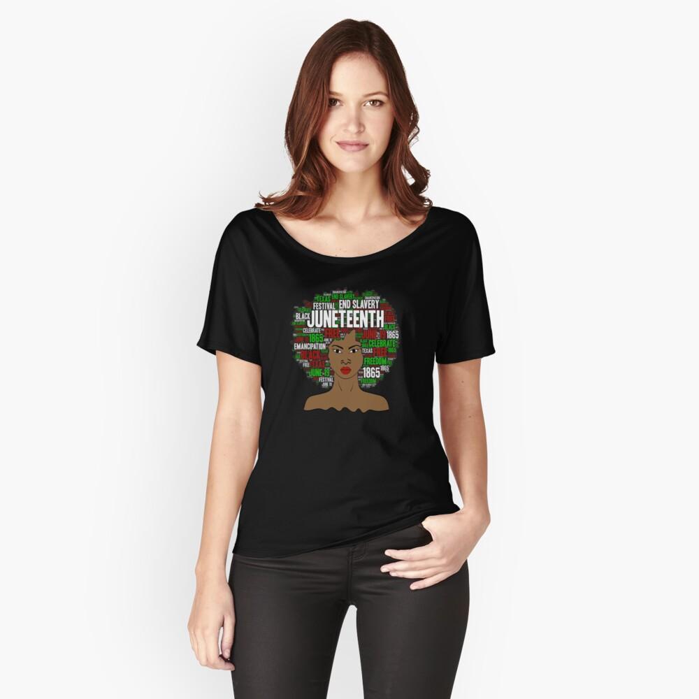 Juneteenth Natural Hair Afro Art for Black Women Relaxed Fit T-Shirt