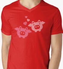 Flying Pigs in Love Mens V-Neck T-Shirt