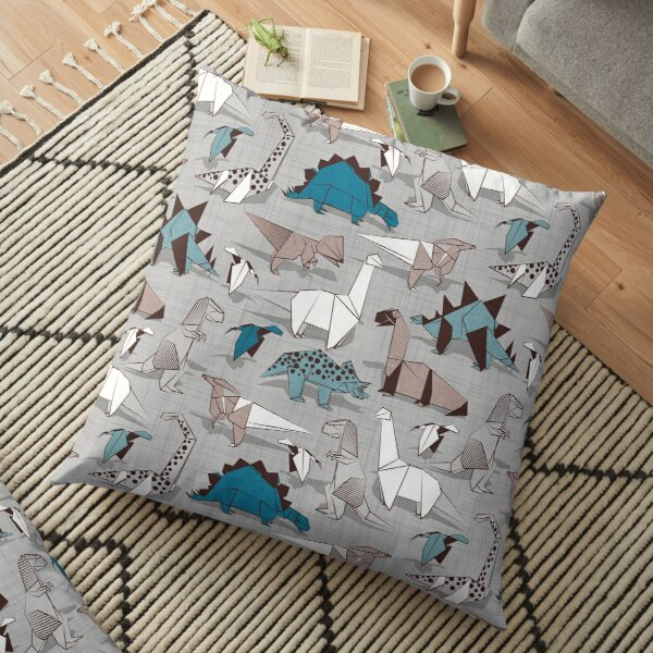 Origami dino friends // grey linen texture background blue white and beige dinosaurs   Floor Pillow