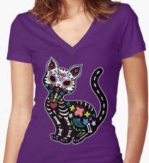 Dia de los Gatos Women's Fitted V-Neck T-Shirt