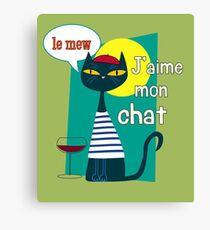 French Cat J'aime Mon Chat, Le Mew Design Canvas Print