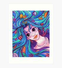Mermiad Hair Don't Care Art Print