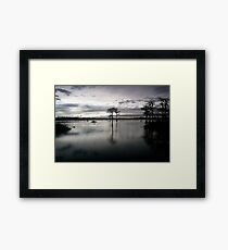 dusk on pond Framed Print