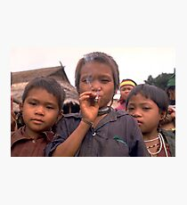 Karen hilltribe children smoking tobacco Photographic Print