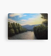 Sunset over the Isarco Canvas Print