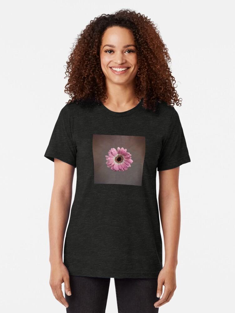 Alternate view of Single pink Gerbera Flower Tri-blend T-Shirt