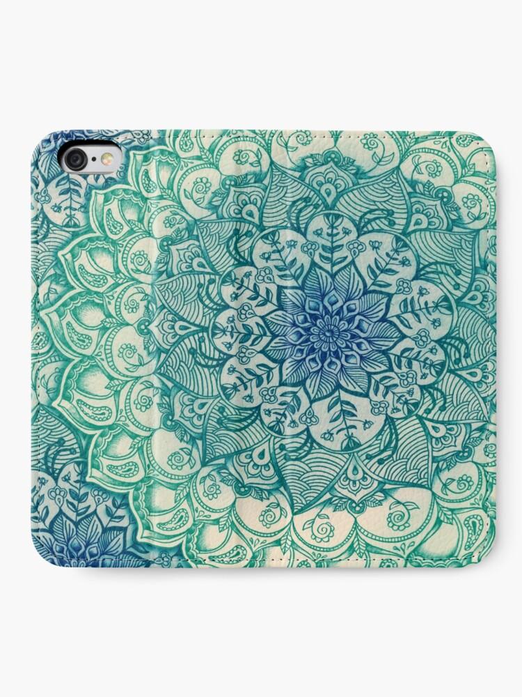 Alternate view of Emerald Doodle iPhone Wallet