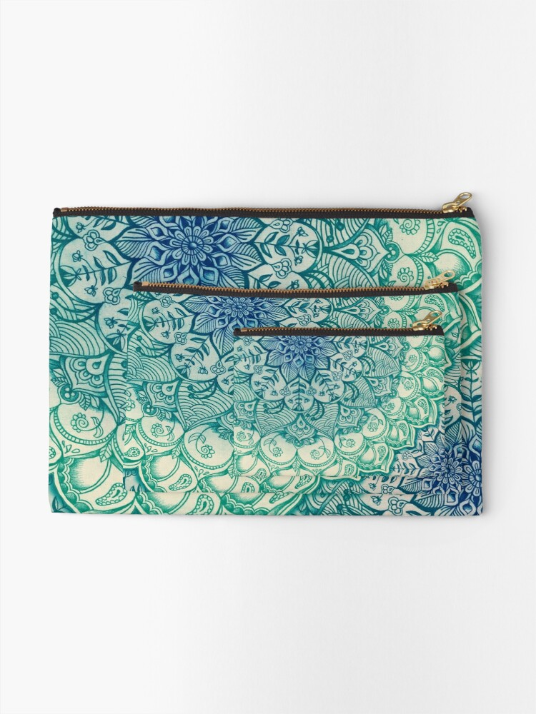 Alternate view of Emerald Doodle Zipper Pouch