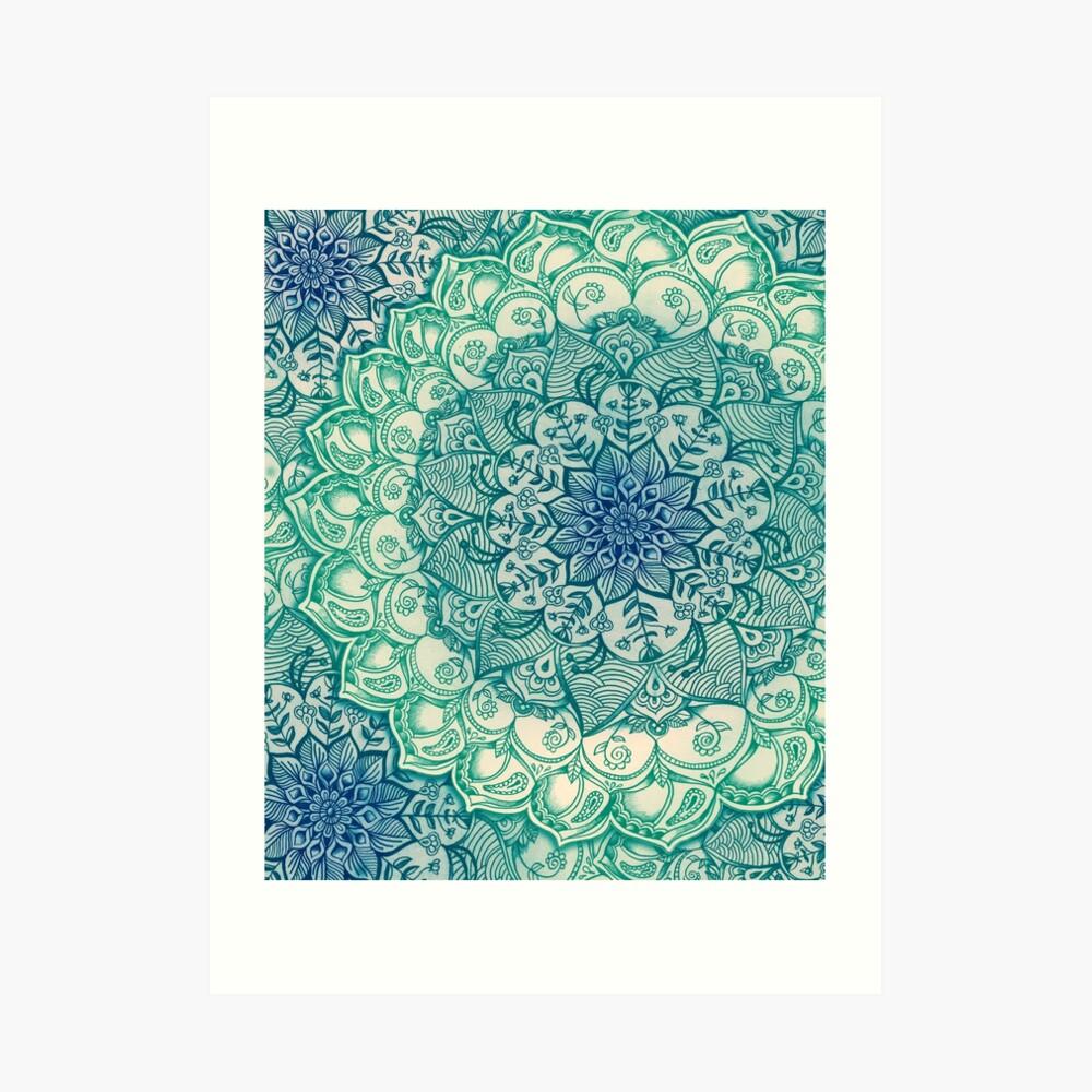 Smaragd-Gekritzel Kunstdruck