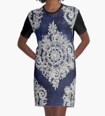 Cream Floral Moroccan Pattern on Deep Indigo Ink Graphic T-Shirt Dress