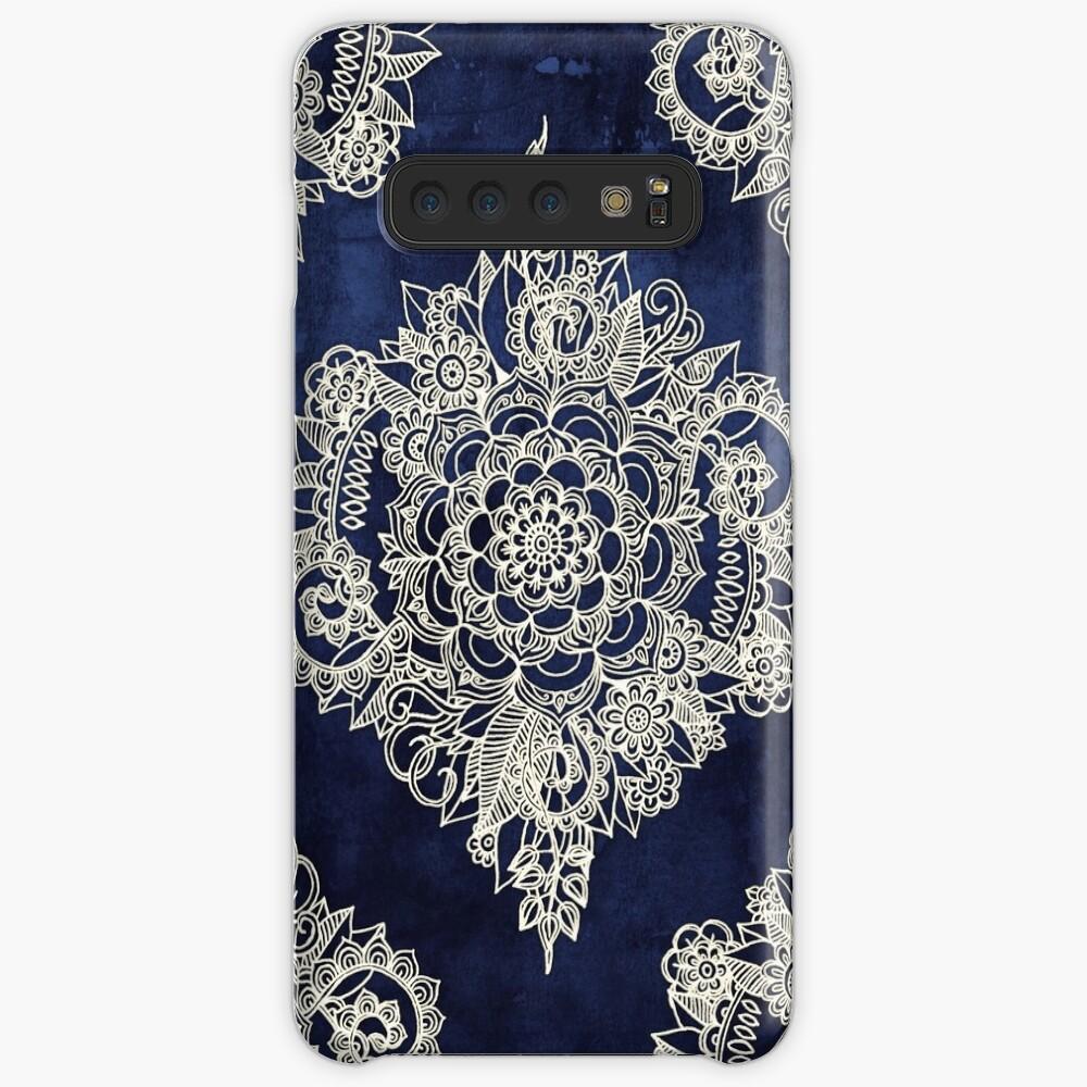 Cream Floral Moroccan Pattern on Deep Indigo Ink Case & Skin for Samsung Galaxy