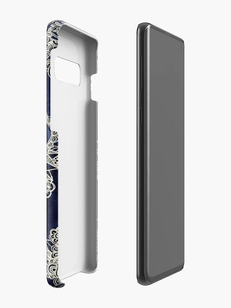 Alternate view of Cream Floral Moroccan Pattern on Deep Indigo Ink Case & Skin for Samsung Galaxy