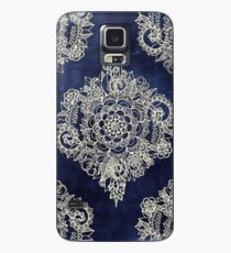 Funda/vinilo para Samsung Galaxy Patrón floral marroquí crema en tinta Deep Indigo