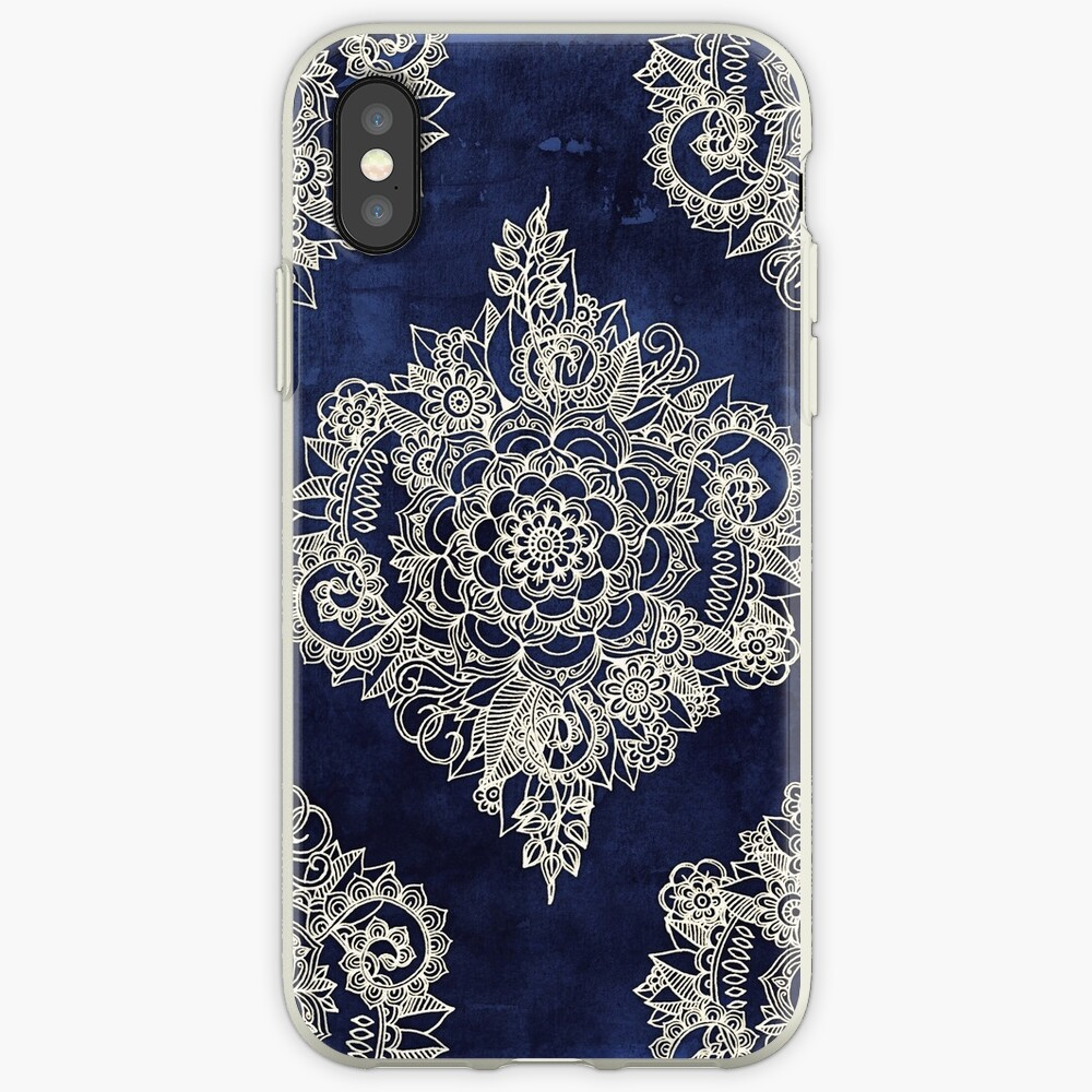 Cream Floral Moroccan Pattern on Deep Indigo Ink iPhone Case & Cover