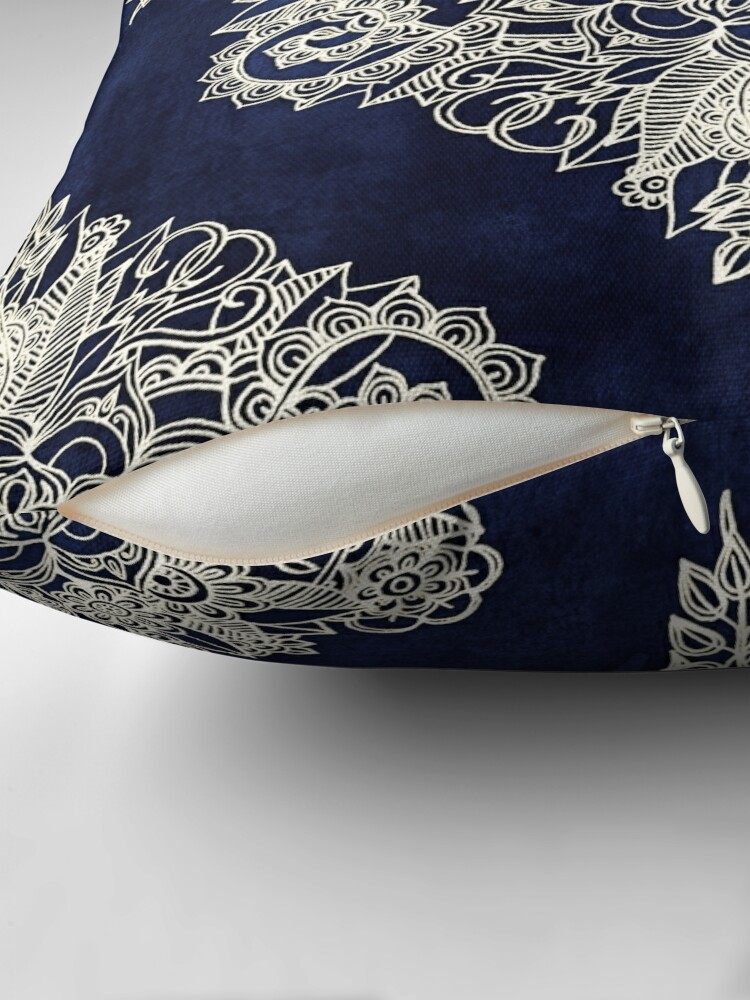 Alternate view of Cream Floral Moroccan Pattern on Deep Indigo Ink Throw Pillow