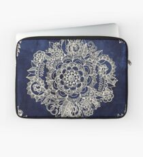 Cream Floral Moroccan Pattern on Deep Indigo Ink Laptop Sleeve