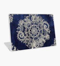 Cream Floral Moroccan Pattern on Deep Indigo Ink Laptop Skin