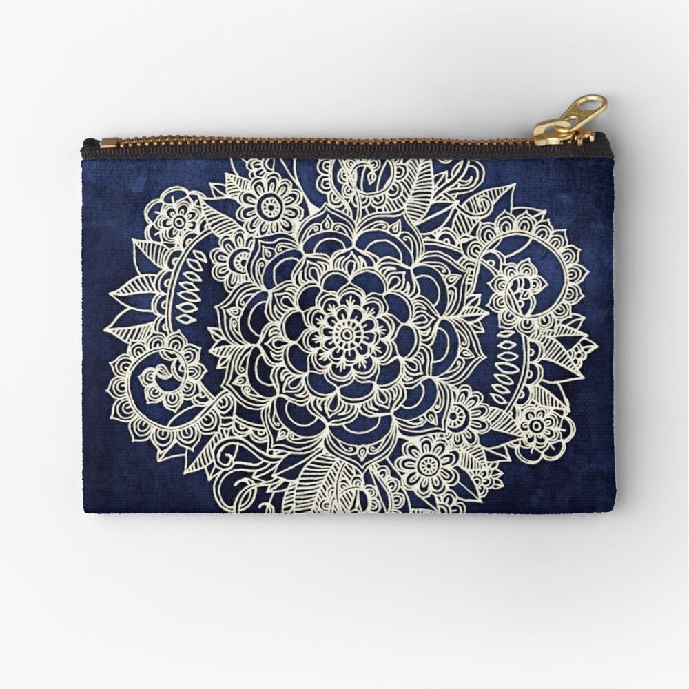 Cream Floral Moroccan Pattern on Deep Indigo Ink Zipper Pouch