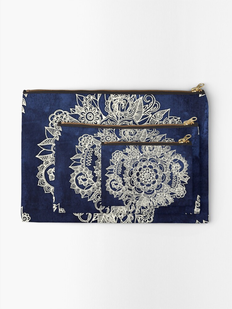 Alternate view of Cream Floral Moroccan Pattern on Deep Indigo Ink Zipper Pouch