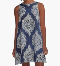 Cream Floral Moroccan Pattern on Deep Indigo Ink A-Line Dress
