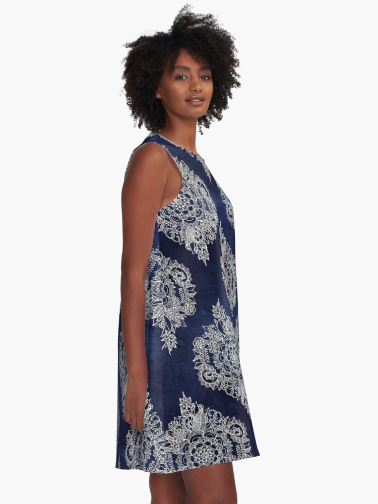 Alternate view of Cream Floral Moroccan Pattern on Deep Indigo Ink A-Line Dress