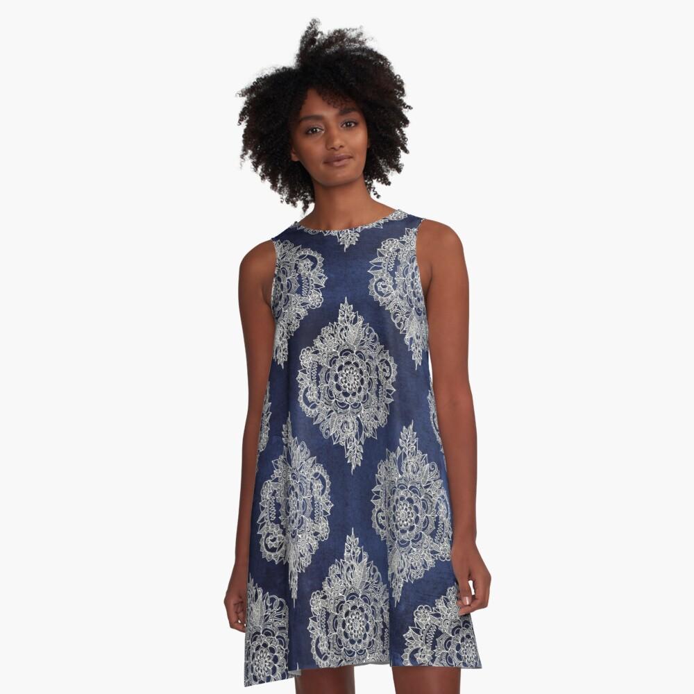 Cream Floral Moroccan Pattern on Deep Indigo Ink A-Line Dress