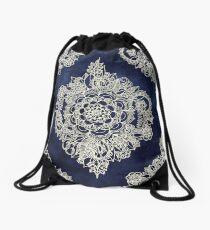 Cream Floral Moroccan Pattern on Deep Indigo Ink Drawstring Bag