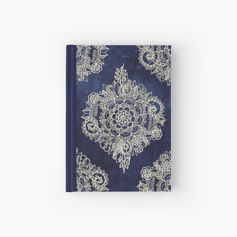 Cream Floral Moroccan Pattern on Deep Indigo Ink Hardcover Journal