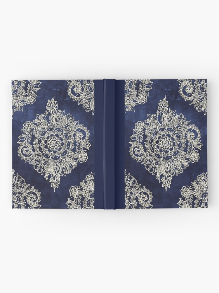 Alternate view of Cream Floral Moroccan Pattern on Deep Indigo Ink Hardcover Journal