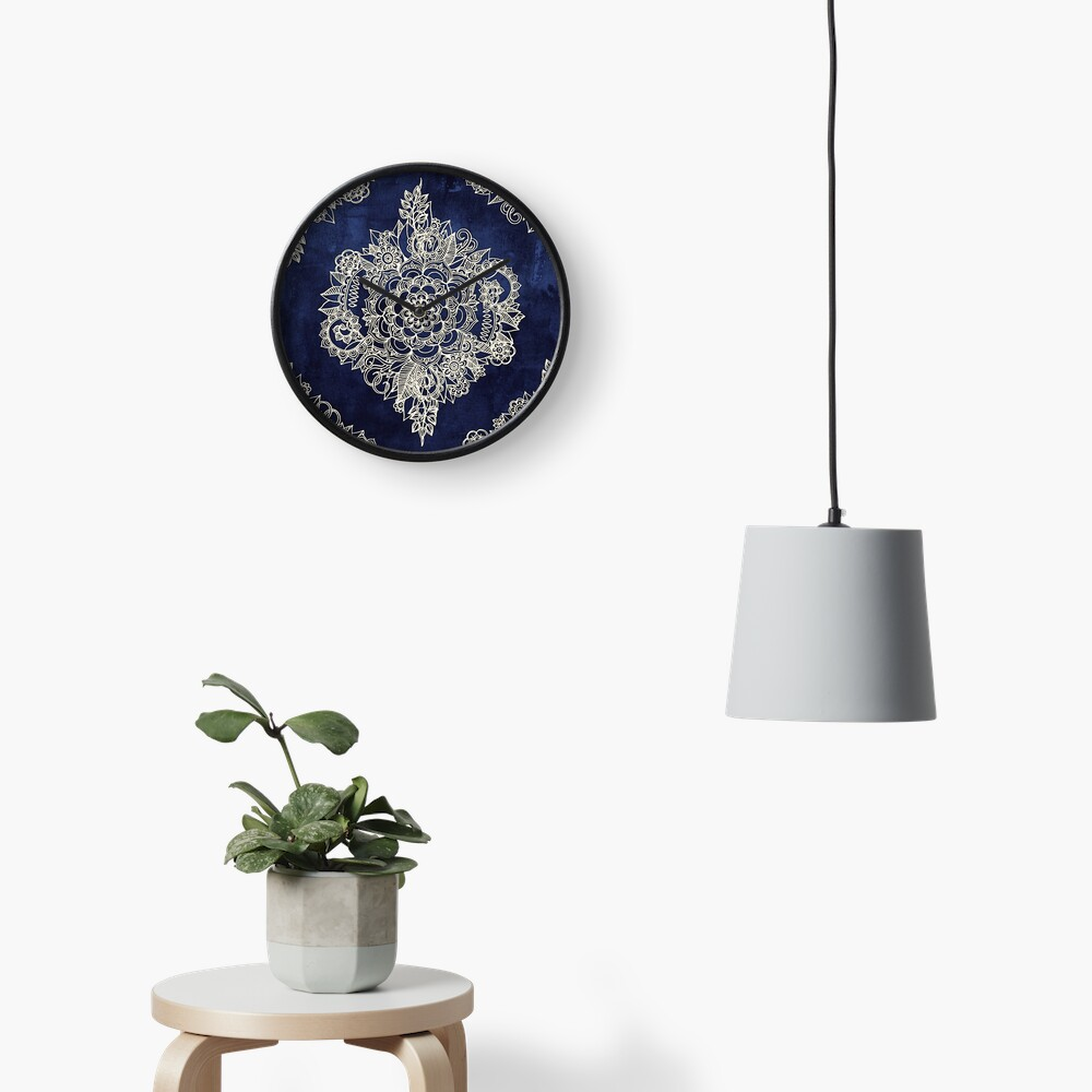 Cream Floral Moroccan Pattern on Deep Indigo Ink Clock