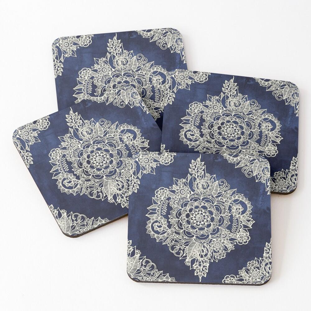 Cream Floral Moroccan Pattern on Deep Indigo Ink Coasters (Set of 4)