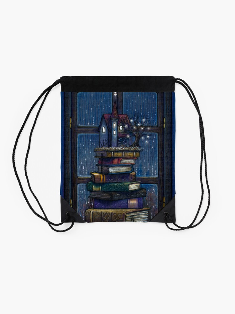 Alternate view of Books castle Drawstring Bag