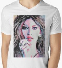 Gisele Bündchen in watercolor painting Men's V-Neck T-Shirt